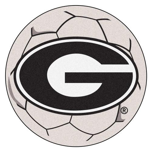 2.25' Gray and Black NCAA University of Georgia Bulldogs Soccer Ball Door Mat - IMAGE 1