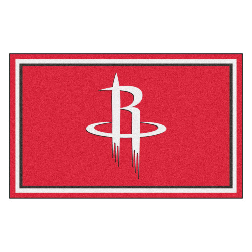 4' x 6' Red and White NBA Rockets Plush Non-Skid Area Rug - IMAGE 1