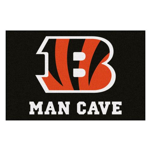 "19"" x 30"" Black and Red NFL Cincinnati Bengals ""Man Cave"" Door Mat - IMAGE 1"