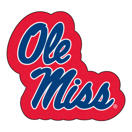 """32.4"""" x 30"""" Red and Blue NCAA University of Mississippi Rebels Mascot Area Rug - IMAGE 1"""
