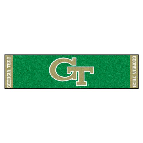 "18"" x 72"" Green and Beige Contemporary NCAA Georgia Tech Yellow Jackets Rectangular Golf Mat - IMAGE 1"