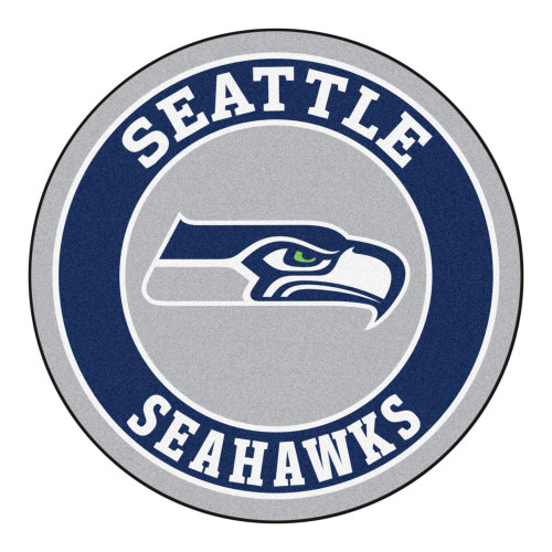 """27"""" Blue and White Contemporary NFL Seahawks Round Area Rug - IMAGE 1"""