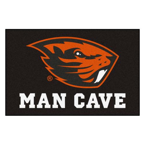 "19"" x 30"" Black and Orange NCAA Oregon State University Beavers Man Cave Starter Mat - IMAGE 1"