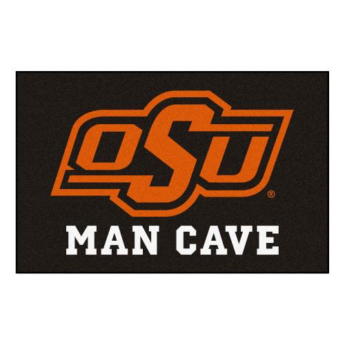"19"" x 30"" Black and Orange NCAA Oklahoma State University Cowboys Man Cave Starter Mat - IMAGE 1"