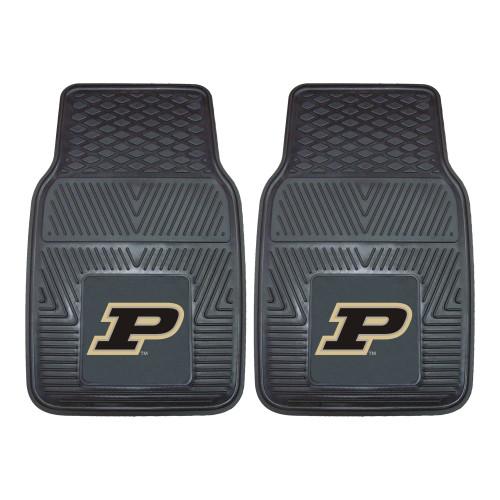 "Set of 2 Black NCAA Purdue University Boilermakers Car Mats 17"" x 27"" - IMAGE 1"