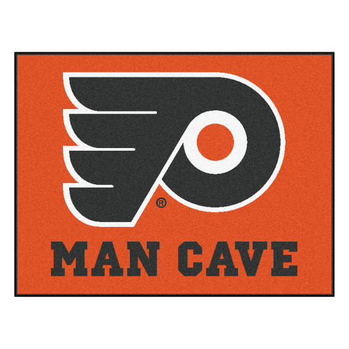 "33.75"" x 42.5"" Orange and Black NHL Philadelphia Flyers ""Man Cave"" All-Star Rectangular Mat Area Rug - IMAGE 1"