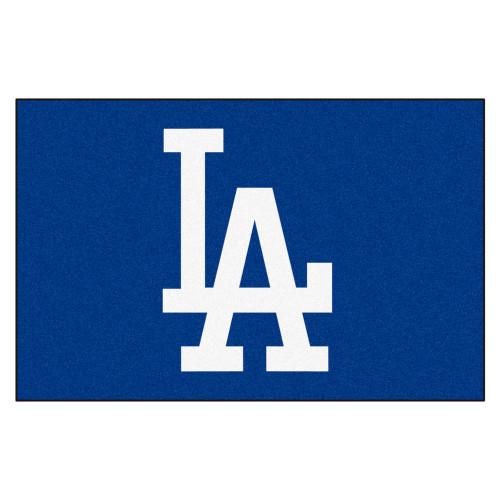 "19"" x 30"" Blue and White MLB Dodgers Starter Mat Rectangular Area Rug - IMAGE 1"