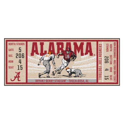 "30"" x 72"" Red NCAA University of Alabama Crimson Tide Ticket Non-Skid Mat Area Rug Runner - IMAGE 1"