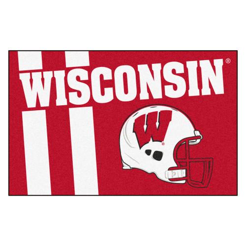"""19"""" x 30"""" Red and White NCAA University of Wisconsin Badgers Starter Rectangular Door Mat - IMAGE 1"""