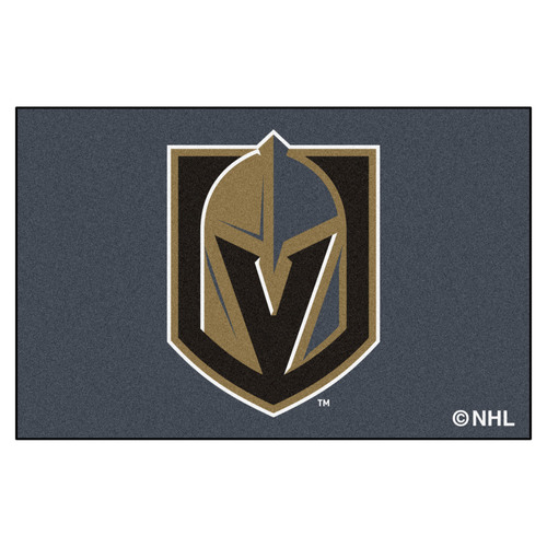 "19"" x 30"" Black and White NHL Vegas Golden Knights Starter Mat Rectangular Area Rug - IMAGE 1"
