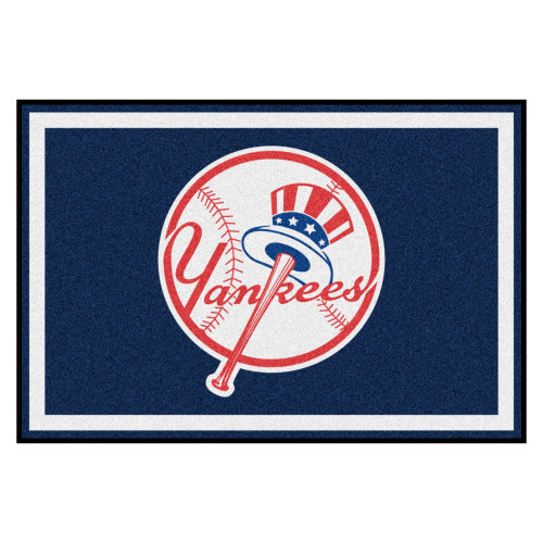 4.9' x 7.3' Blue and White Contemporary NCAA New York Yankees Rectangular Area Rug - IMAGE 1
