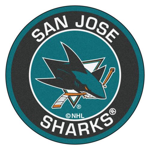 "27"" Black and Blue NHL San Jose Sharks Rounded Door Mat - IMAGE 1"