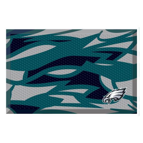 "19"" x 30"" Teal Blue and Black Contemporary NFL Philadelphia Eagles Shoe Scraper Mat - IMAGE 1"