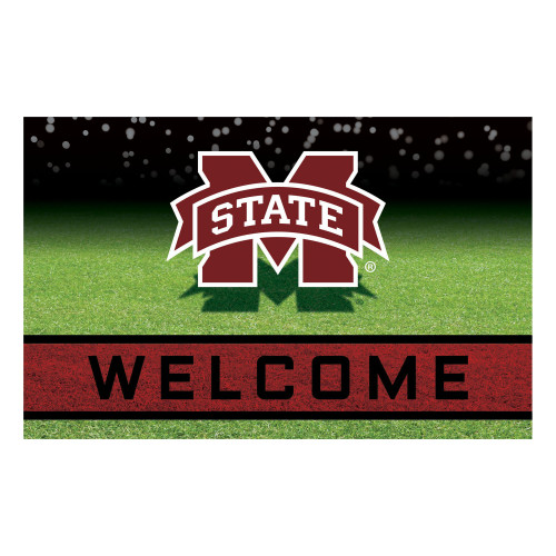 """18"""" x 30"""" Green and Red NCAA Mississippi State University Bulldogs Door Mat - IMAGE 1"""