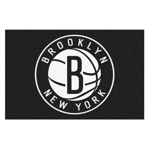 "19"" x 30"" Black and White NBA Nets Starter Mat Rectangular Area Rug - IMAGE 1"