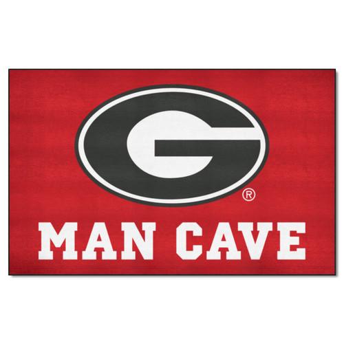 4.9' x 7.8' Red and Black NCAA University of Georgia Bulldogs Man Cave Rectangular Area Rug - IMAGE 1
