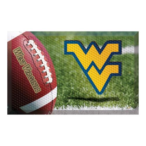 """Red and Gold NCAA West Virginia University Mountaineers Shoe Scraper Doormat 19"""" x 30"""" - IMAGE 1"""