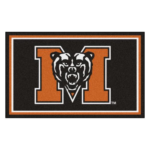 3.6' x 5.9' Orange and Black NCAA Mercer University the Thundering Herd Plush Area Rug - IMAGE 1