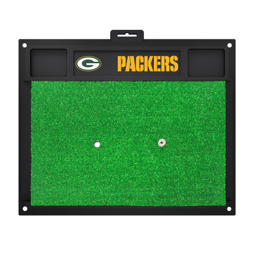"""20"""" x 17"""" Black and Green NFL Green Bay """"Packers"""" Golf Hitting Mat Practice Accessory - IMAGE 1"""