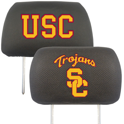 NCAA University of Southern California Trojans Head Rest Cover Automotive Accessory - IMAGE 1