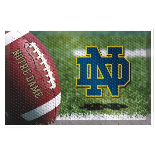 "19"" x 30"" Green and White NCAA Notre Dame Fighting Irish Shoe Scraper Door Mat - IMAGE 1"