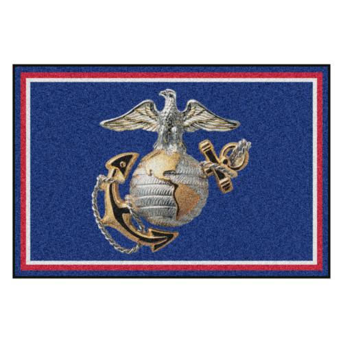 5' x 8' Blue and Silver Contemporary U.S. Marines Rectangular Area Rug - IMAGE 1