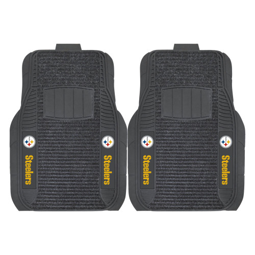 """Set of 2 Black and Yellow NFL Pittsburgh Steelers Deluxe Car Mats 21"""" x 27"""" - IMAGE 1"""
