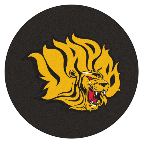 """27"""" Gold and Black NCAA Pine Bluff Lions Puck Mat Round Area Rug - IMAGE 1"""