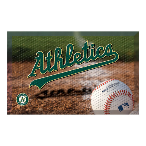 "Green and Brown MLB Oakland Athletics Shoe Scraper Doormat 19"" x 30"" - IMAGE 1"