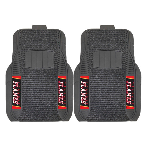 """Set of 2 Black and Red NHL Calgary Flames Front Car Mats 21"""" x 27"""" - IMAGE 1"""