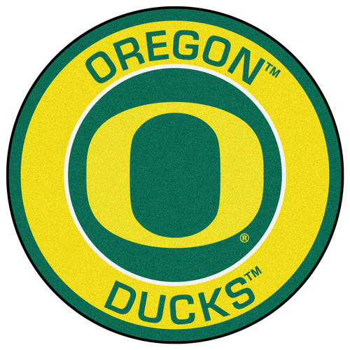 "27"" Yellow and Green NCAA University of Oregon Ducks Rounded Door Mat - IMAGE 1"