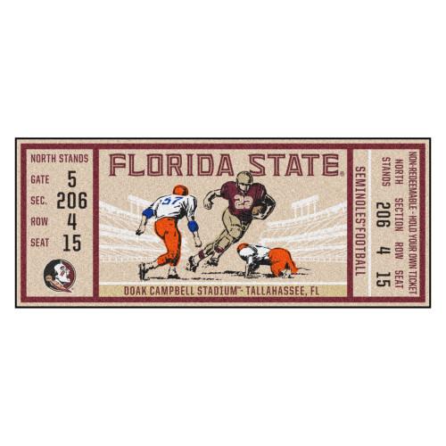 "30"" x 72"" Brown NCAA Florida State University Seminoles Ticket Non-Skid Mat Area Rug Runner - IMAGE 1"