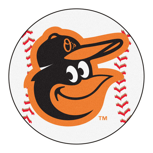 "27"" Black and Orange MLB Baltimore Orioles Baseball Shape Round Welcome Door Mat - IMAGE 1"