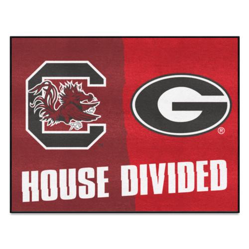 "33.75"" x 42.5"" Pink and Orange NCAA House Divided South Carolina Georgia Area Rug - IMAGE 1"