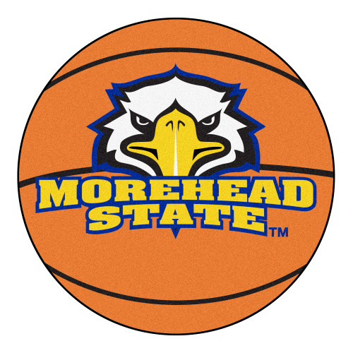 """27"""" Orange and Yellow Contemporary NCAA Morehead State University Eagles Basketball Round Mat - IMAGE 1"""
