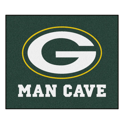 "59.5"" x 71"" Green and White NFL Bay Packers Man Cave Tailgater Area Rug - IMAGE 1"