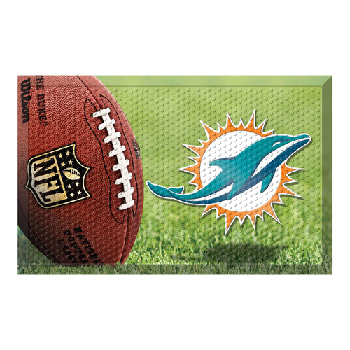 """19"""" x 30"""" Green and Brown NFL Miami Dolphins Shoe Scraper Door Mat - IMAGE 1"""