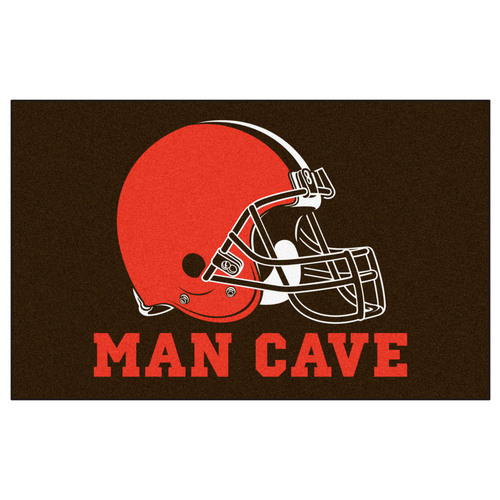 """59.5"""" x 94.5"""" Brown and Red NFL Cleveland Browns """"Man Cave"""" Area Rug - IMAGE 1"""