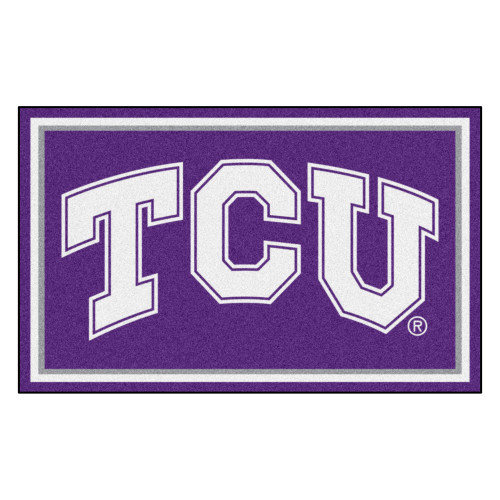 4' x 6' Purple and White NCAA Texas Christian University Horned Frogs Non-Skid Area Rug - IMAGE 1