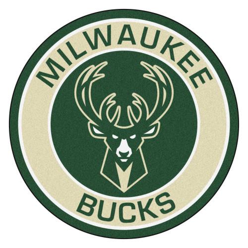"""27"""" Green and Beige NBA Milwaukee Bucks Rounded Door Mat - IMAGE 1"""