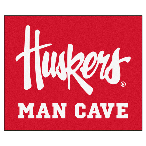 """59.5"""" x 71"""" Red and White NCAA University of Nebraska Man Cave Tailgater Mat Area Rug - IMAGE 1"""