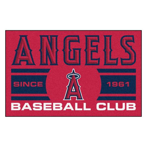 "19"" x 30"" Red and Black MLB Los Angeles Angels Starter Mat Rectangular Area Rug - IMAGE 1"