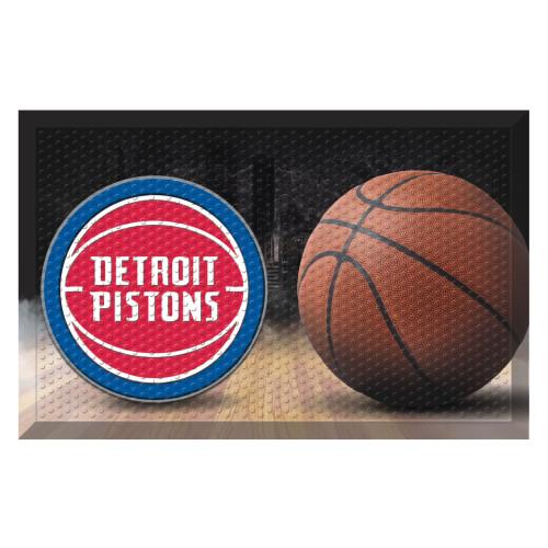 """19"""" x 30"""" Brown and Red NBA Detroit Pistons Shoe Scraper Doormat - IMAGE 1"""