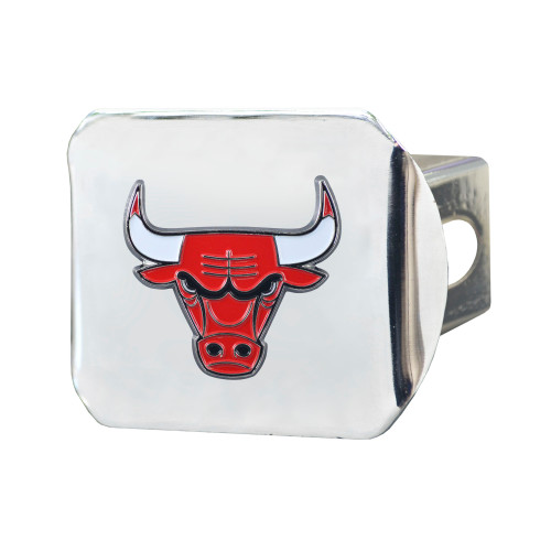 "4"" Silver NBA Chicago Bulls Color Class III Hitch Cover Auto Accessory - IMAGE 1"