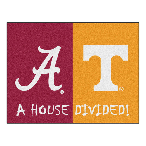 """33.75"""" x 42.5"""" Red and Yellow NCAA House Divided Alabama Tennessee Area Rug - IMAGE 1"""