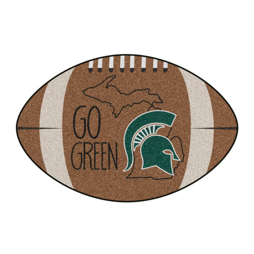 """20.5"""" x 32.5"""" Brown and Green NCAA Michigan State University Spartans Mat Area Rug - IMAGE 1"""