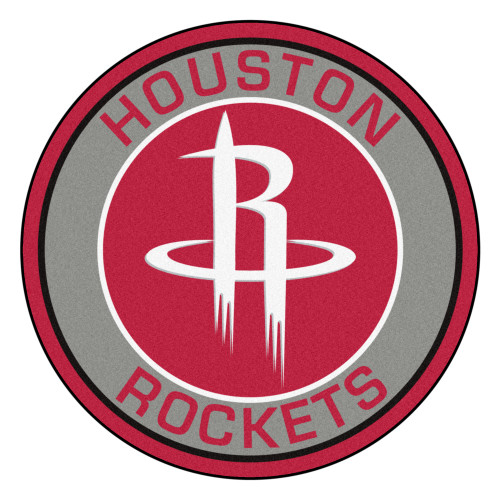 """27"""" Gray and Red NBA Houston Rockets Rounded Door Mat - IMAGE 1"""