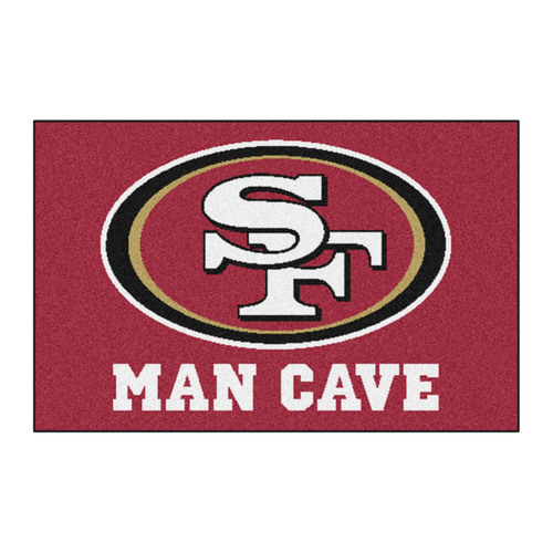 """19"""" x 30"""" Red and White NFL Man Cave Starter Rectangular Mat Area Rug - IMAGE 1"""