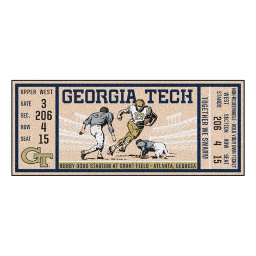 "30"" x 72"" Beige and Blue NCAA University of Georgia Tech Ramblin' Wreck Ticket Mat Area Rug Runner - IMAGE 1"