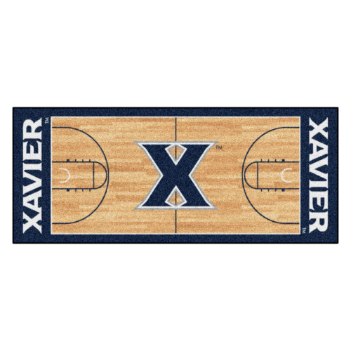 2.5' x 6' Blue NCAA Xavier University Musketeers Basketball Court Mat Area Throw Rug Runner - IMAGE 1